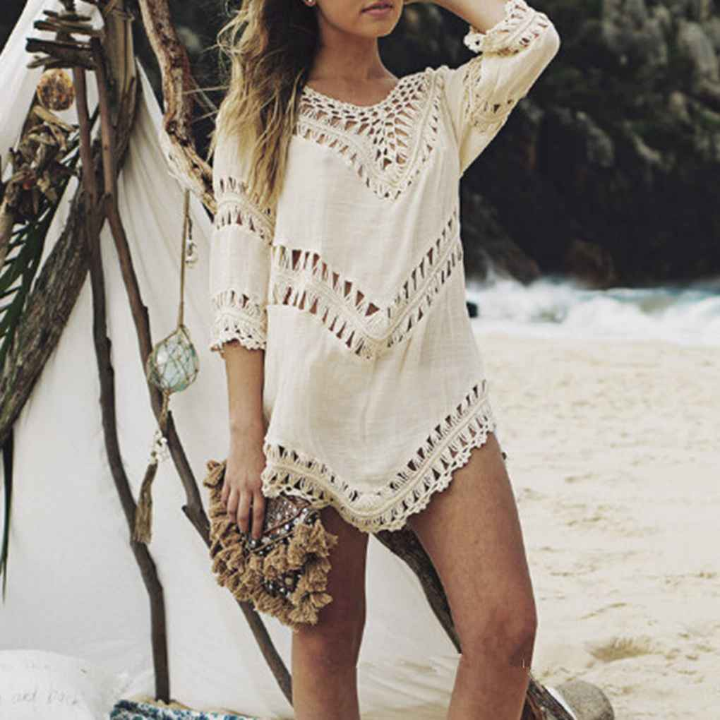 f8764361bf ProductImage. ProductImage. Sold Out. Women V neck Bikini Cover Up Bohemia  Crochet 3/4 Sleeve Swimwear Top ...