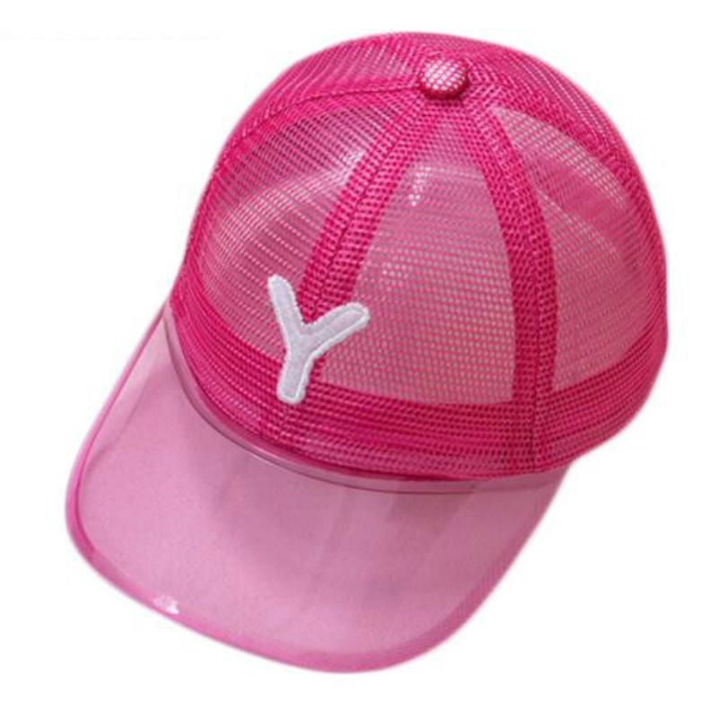 a1a6ffb26 Summer Children Beach Baseball Cap Mesh Letter Transparency Adjustable Kids  Snapback Visors Sun Hat