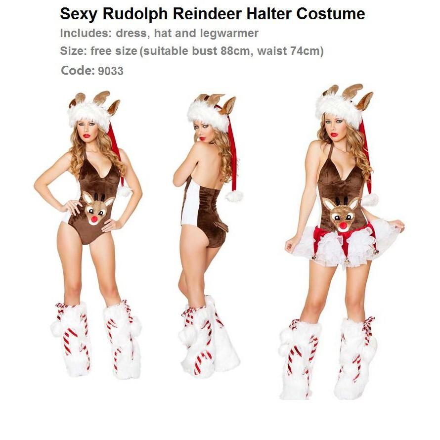 [Code 9033] Sexy Rudolph Reindeer Halter Costume