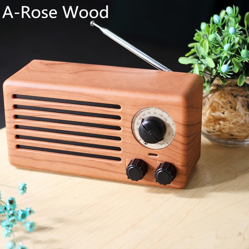 Mini Portable Heavy Bass Wireless Bluetooth Wooden Speaker Mini Retro FM Audio