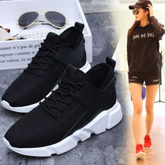 ✖❧❀Smelly sneakers knitting young high school girls black waterproof shoes insoles flat men's fashion