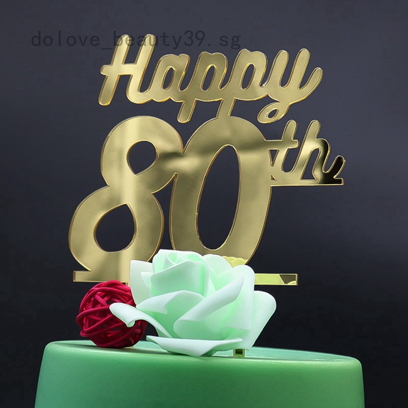 Surprising Dolove 80Th Birthday Cake Topper Number 80 Birthday Glitter Gold Funny Birthday Cards Online Aboleapandamsfinfo