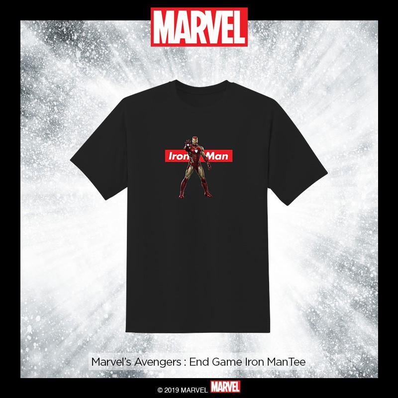 Avengers Endgame Iron Man Suit /& Logo Children/'s Unisex Black T-Shirt