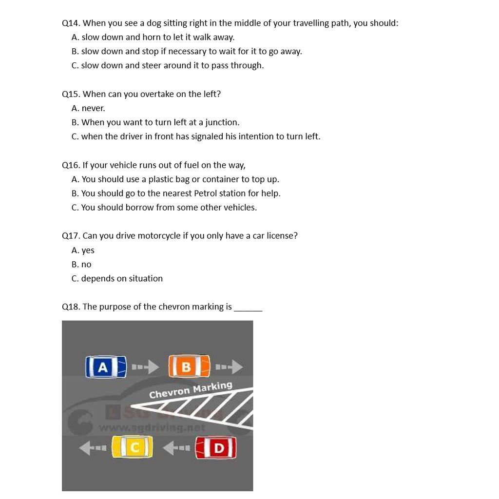 BTT(Basic Theory Test) Driving Theory Practice Questions & Answers