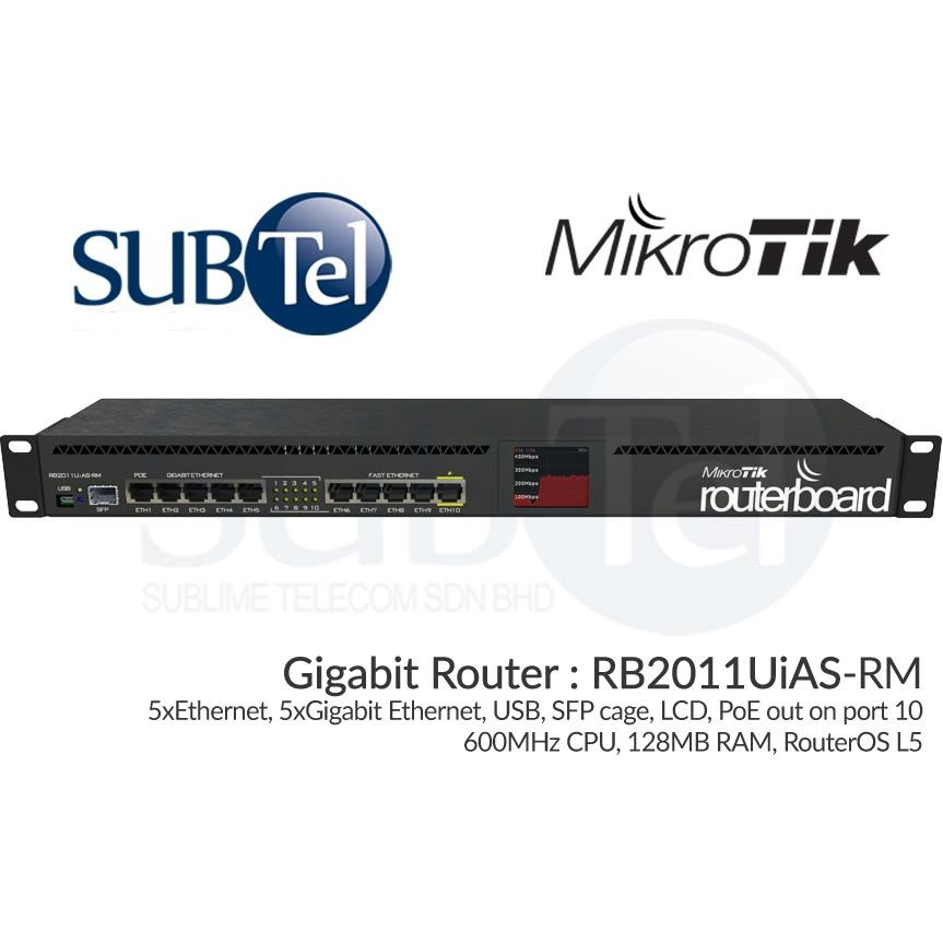 MikroTik RB2011UiAS-RM: Gigabit Router 11 Ports SFP PoE Singapore