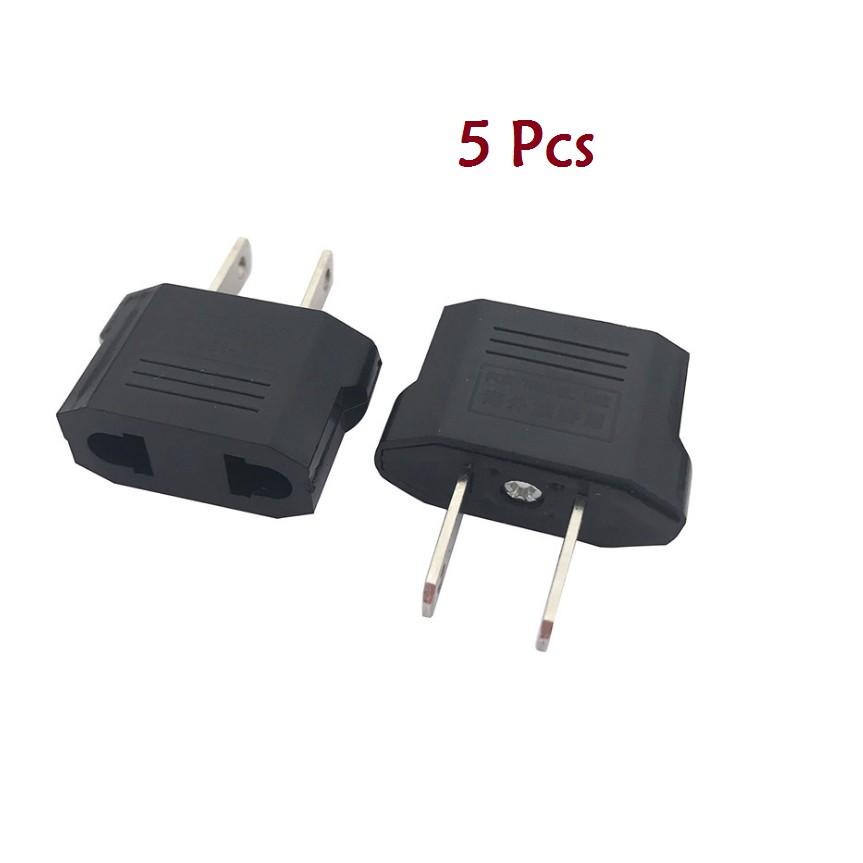 5pcs European EU to US USA Travel Power Charger Adapter Plug Outlet Converter EN