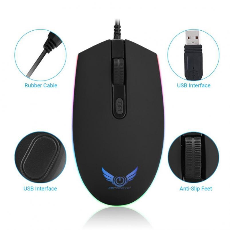 ZERODATE S900 USB Wired Mouse 1600DPI Optical Gaming Mice LED Backlight For PC