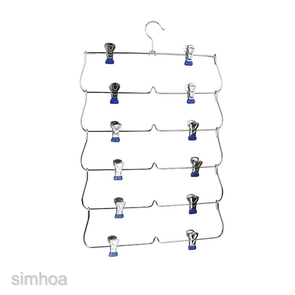 Metal Pants Hangers Closet Organizer 4 Tier Foldable Multi-skirt Hanger