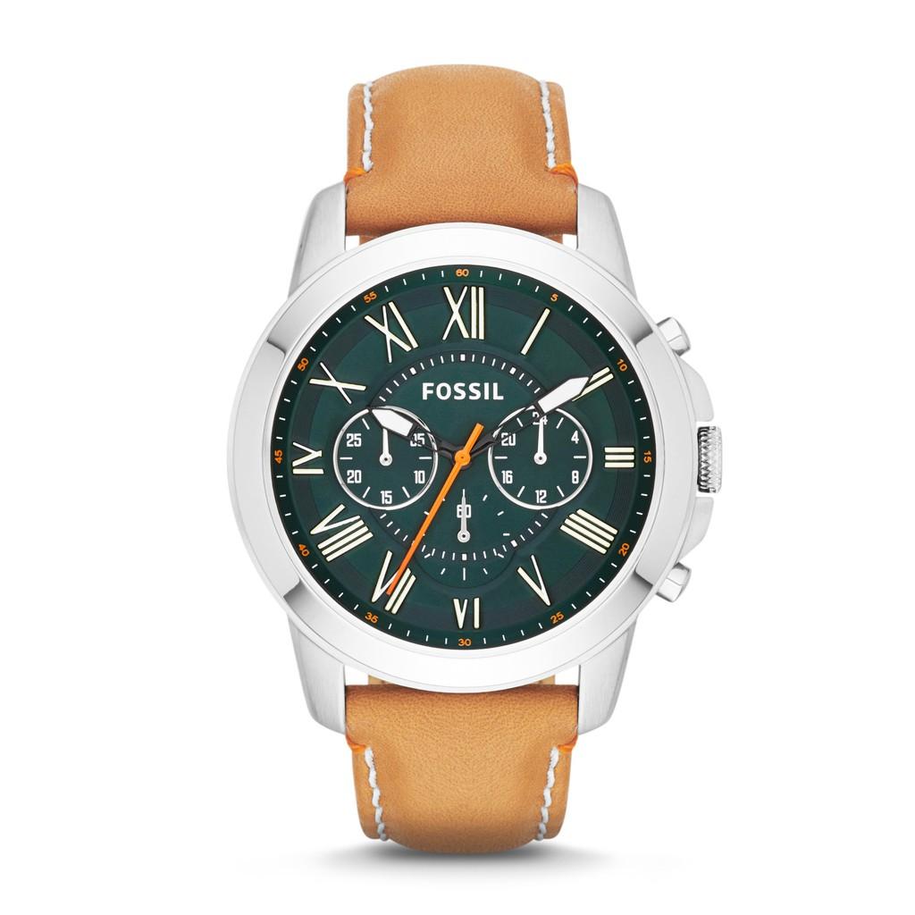 Original Fossil Watch Grant Chronograph Tan Leather 44mm Fs4918 Fs5182 Set Pilot 54 Black Fs5181 Shopee Singapore