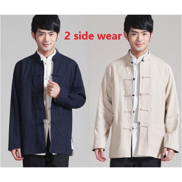 f7c790e010c2e men's cotton reversible shirt ancient costumes Tai Chi Linen Kung Fu  Chinese Tra