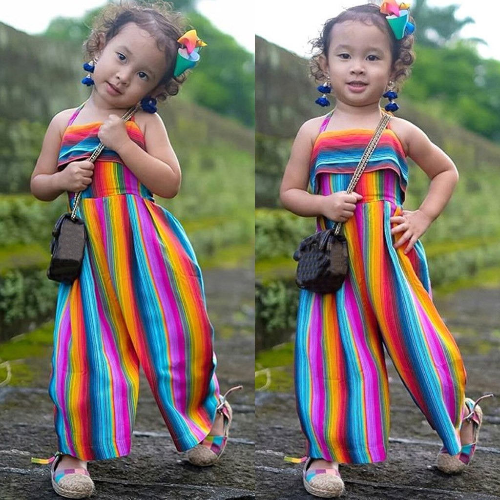 Toddler Baby Kids Girls Summer Rainbow Backless Romper Jumpsuits Clothes Sunsuit