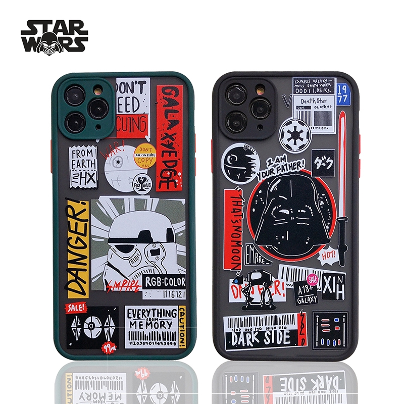 iPhone 12 Pro Max Case Shockproof Lens protection Fashion Creative Star Wars label Matte Frosted iPhone X Xs Max XR 7 8lus Plus 11 Pro MAX Full ...