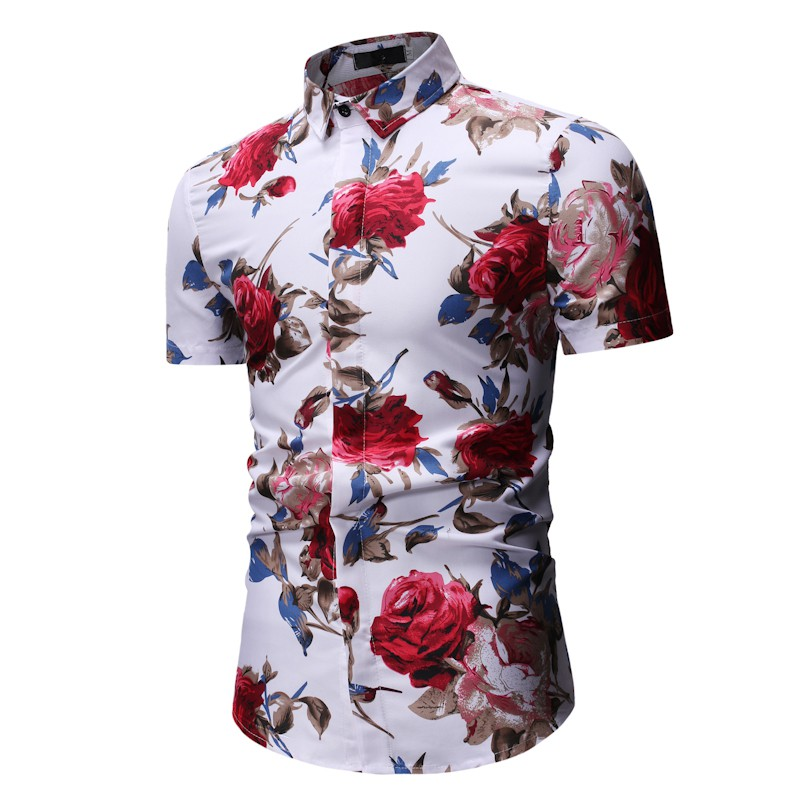 SACET Mens Summer Casual Fashion Stitching Lapel Short Sleeve Striped Shirt
