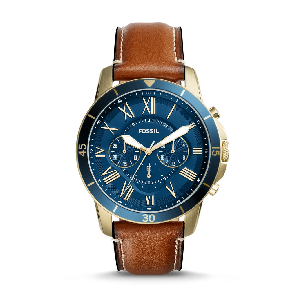 d445c4878 Fossil Watch Grant Twist Three-Hand Blue Leather Watch 44mm ME1162 Original  | Shopee Singapore