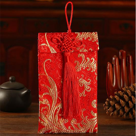 6PCS Big Chinese New Year Money Envelopes HongBao Red Packet W// Fortune Fu Charm