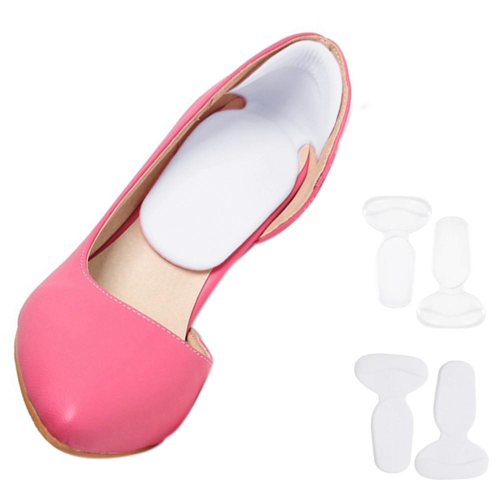 Baik 2 Pairs T Shape Back Heel Grip Pad Cushion Liner Sticker Insole Back Foot