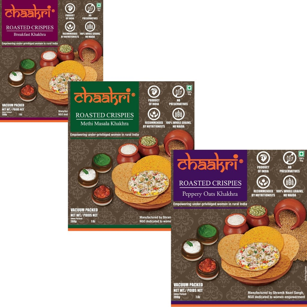 CHAAKRI pack of 3 Breakfast + Methi Masala + Peppery Oats
