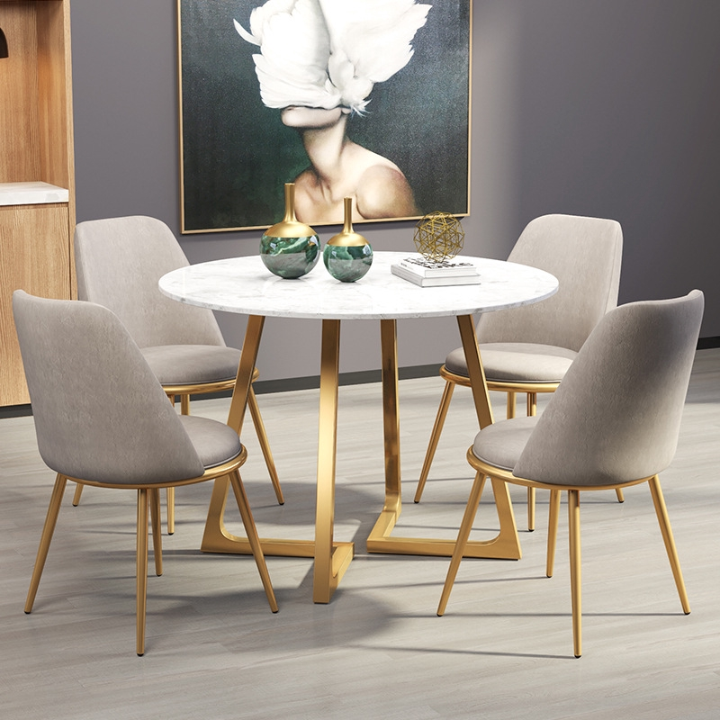 marble round table and chair combination Simple modern ...