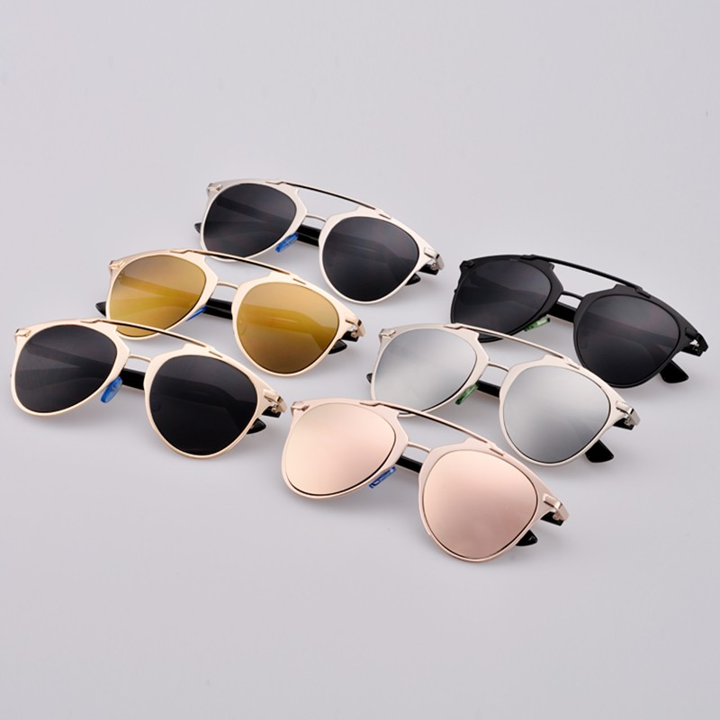 ad18fa2fec49 Sunglasses Full Frame Hot Fashion Retro Women Lady Dual Horizontal Beam