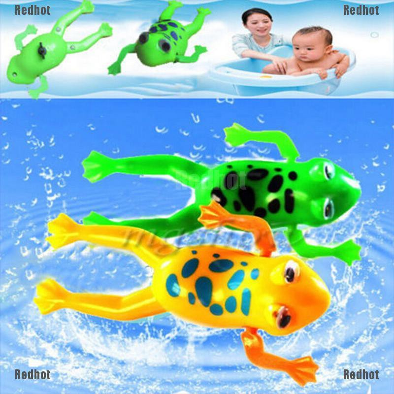 Cute 2Pcs Bathroom Tub Bathing Toy Clockwork Wind UP Plastic Bath Frog Baby kids