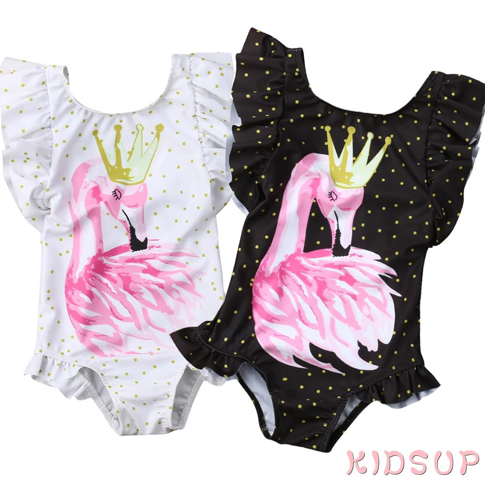 Toddler Kids Baby Girls One Piece Swan Swimsuit Swimwear Bathing Bikini Clothes