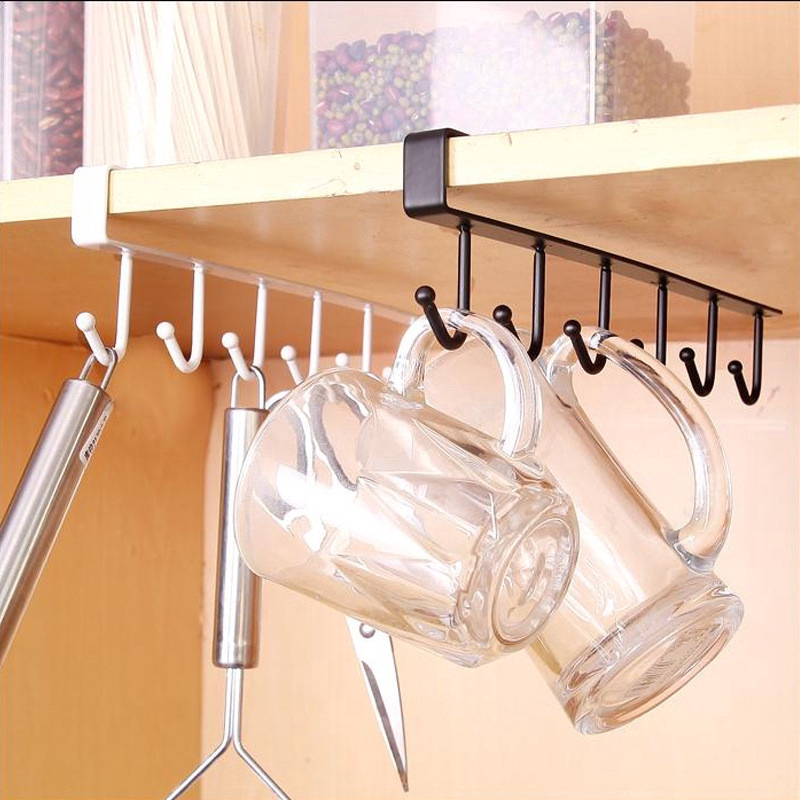 6 Hooks Cup Holder Hang Kitchen Cabinet, Kitchen Cupboard Hanging Shelf