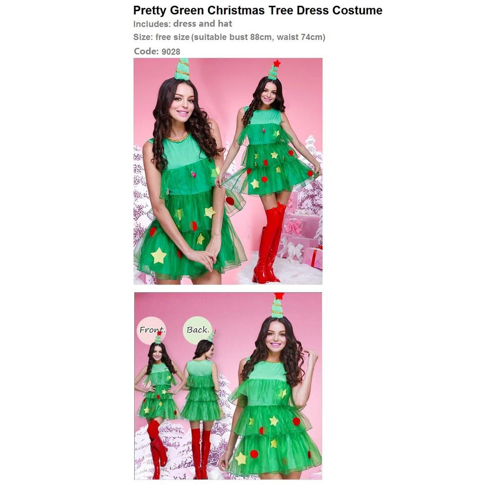 Code 9028 Pretty Green Christmas Tree Dress Costume Shopee Singapore