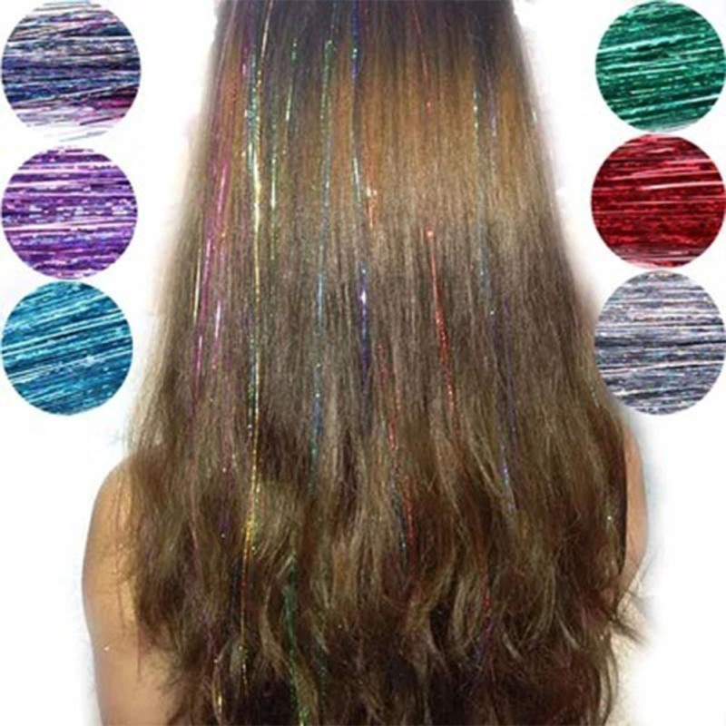 Hair Tinsel Sparkle Holographic Glitter Extensions Highlights Party