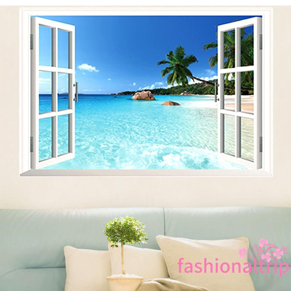 Shark Ocean View Wall Sticker 3D Porthole Window Kids Room Home Decor Art DT