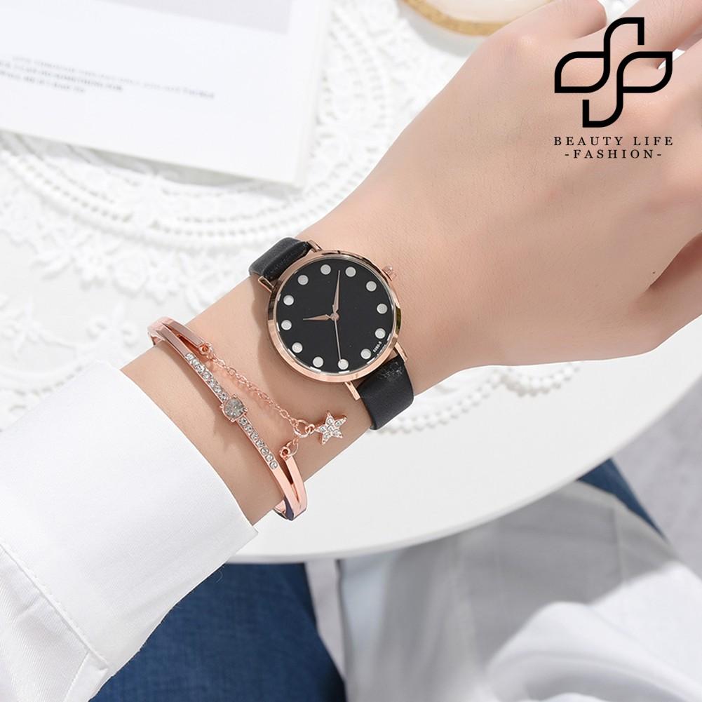 Beauty Xr4435 Women White Dot Faux Leather Band Quartz Watch Star Design Bracelet Set Shopee Singapore