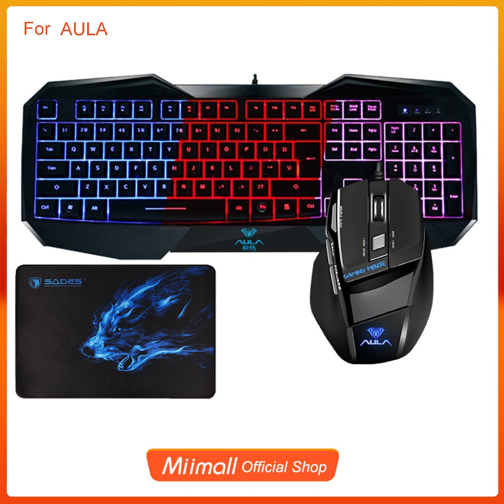c62aec8721f AULA LED Backlit Gaming Keyboard and Mouse Combo Wired USB + Gaming Mouse  Pad   Shopee Singapore