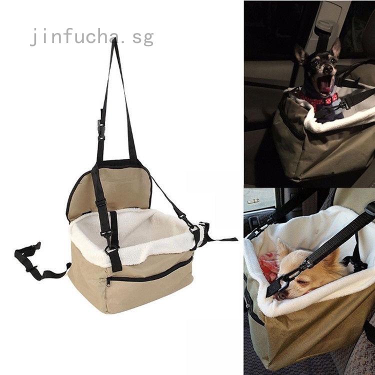 Foldable Pet Dog Puppy Cat Car Seat Carrier Belt Booster Travel Bag Safe Basket
