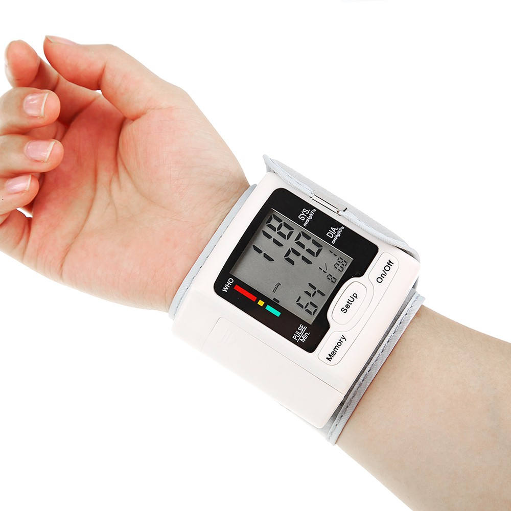 Automatic Blood Pressure Monitor Wrist Sphygmomanometer LCD Digital Display Medical Household Use for Measuring Pulse Rate