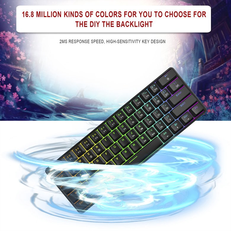 ❀☞GK61 Gaming Mechanical Keyboard with Kailh BOX Switch RGB Function