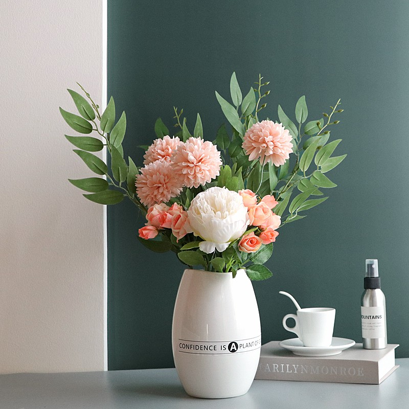 White Ceramic Vase Peony Bouquet Hydrangea Dandelion Simulation Flower Fake Flower Floral Table Living Room Decoration Ornaments Shopee Singapore