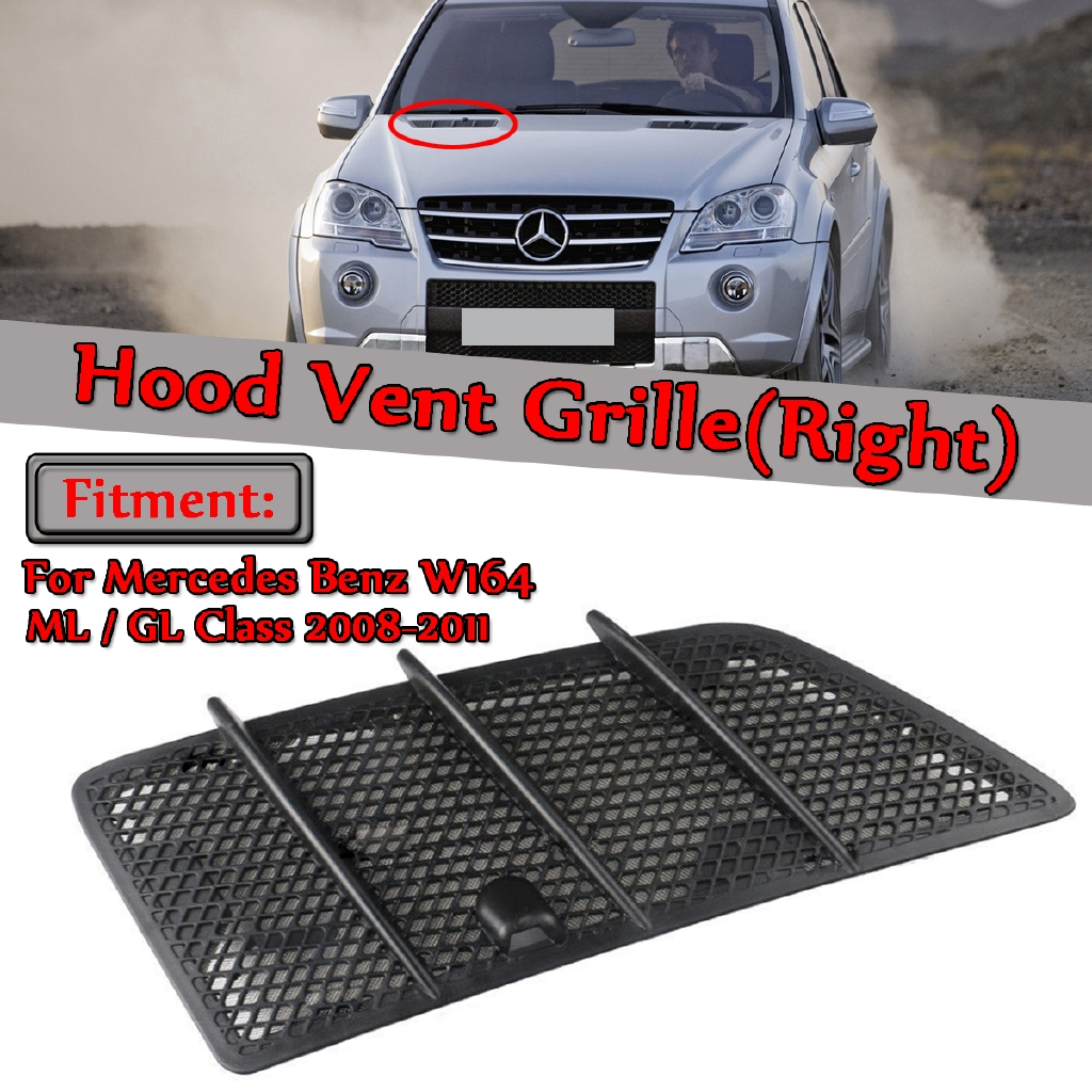 Matte Black 2pcs Durable Hood Grille Air Vent Covers Insert Mesh Compatible with 2008-2011 Mercedes W164 ML GL Class