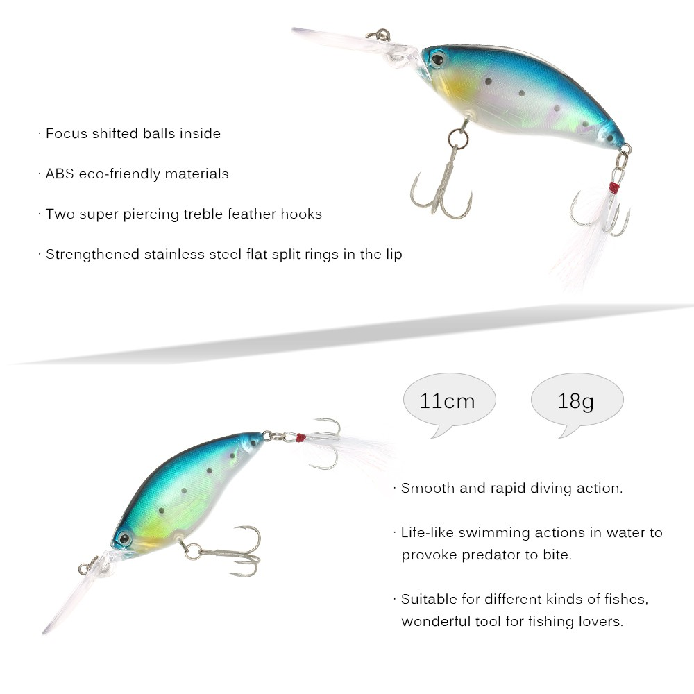 Treble Fishing Hook with Feather for Minnow Fishing Lures Crankbaits Supply 6L
