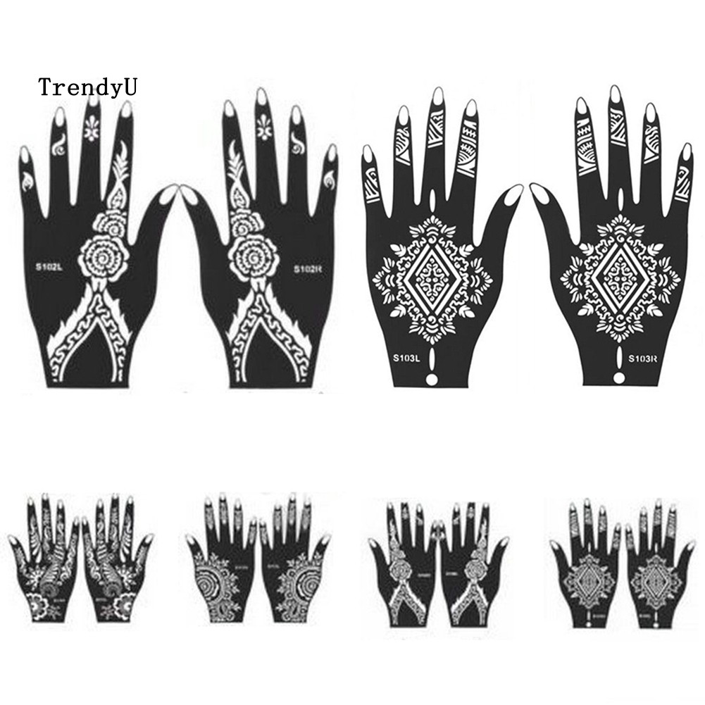 Tdu India Henna Mehndi Temporary Tattoo Stencil Kit For Women Hand Body Art Decal Shopee Singapore