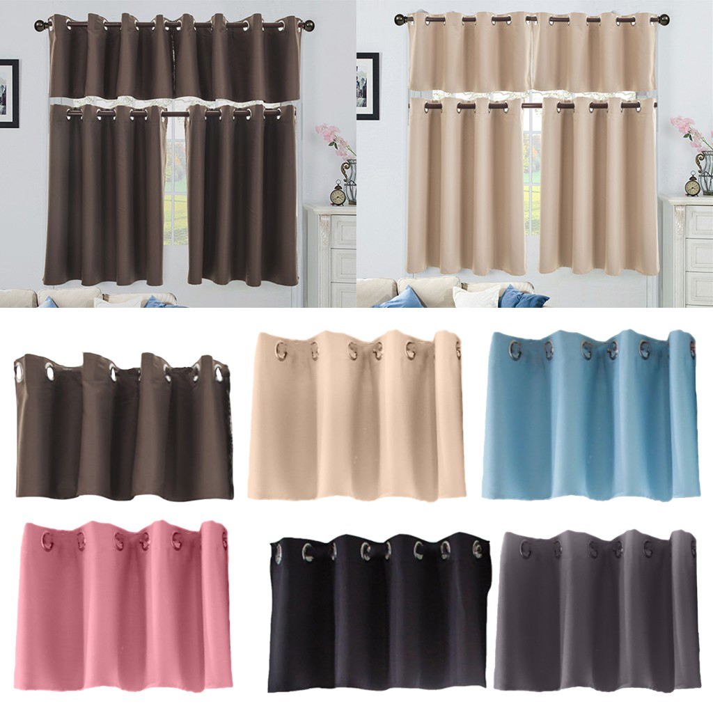 Solid Blackout Short Valance Curtains Kitchen Window Tier Treatment Decor 6 Colors And 2 Sizes Available Shopee Singapore