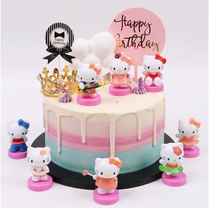 Hello Kitty Birthday Cake.Hello Kitty Birthday Cake Topper Figurine Toppers
