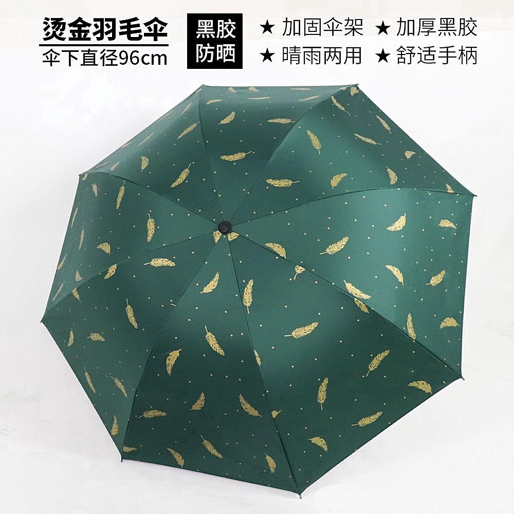 Pattern Colours Large Tropical Leaves fashion print cute Windproof automatic tri-fold umbrella sun UV protection Sun umbrella