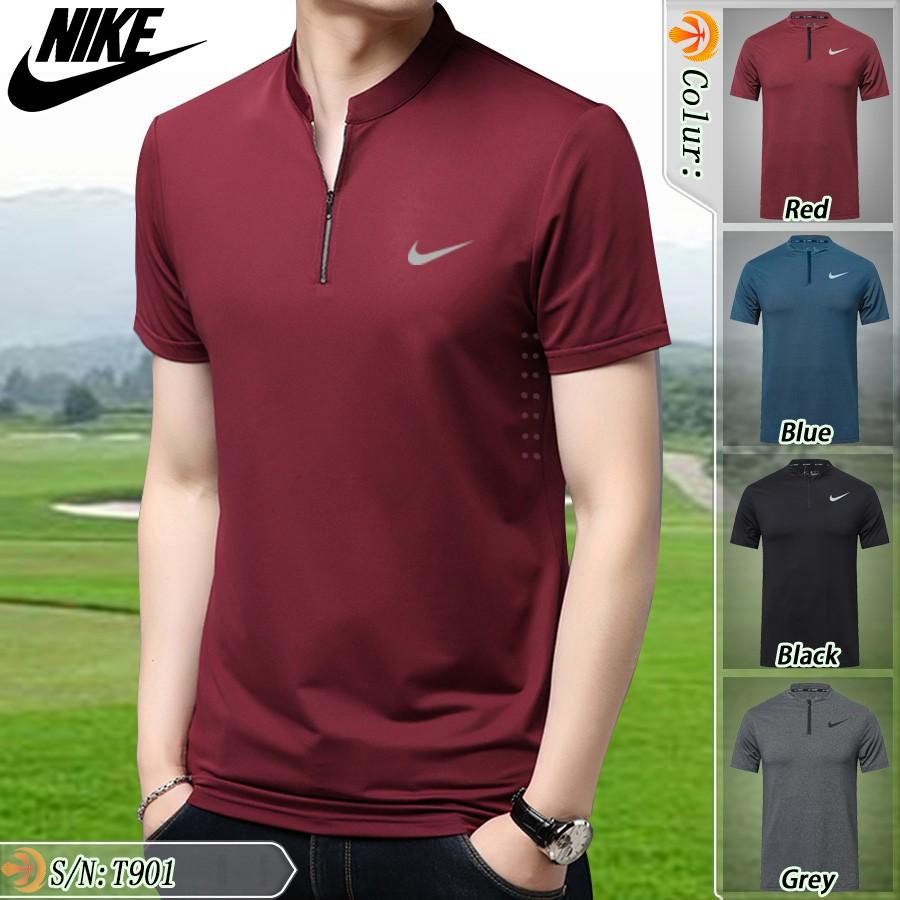 NIKE stand collar short-sleeved polo shirt golf casual sportswear T-shirt
