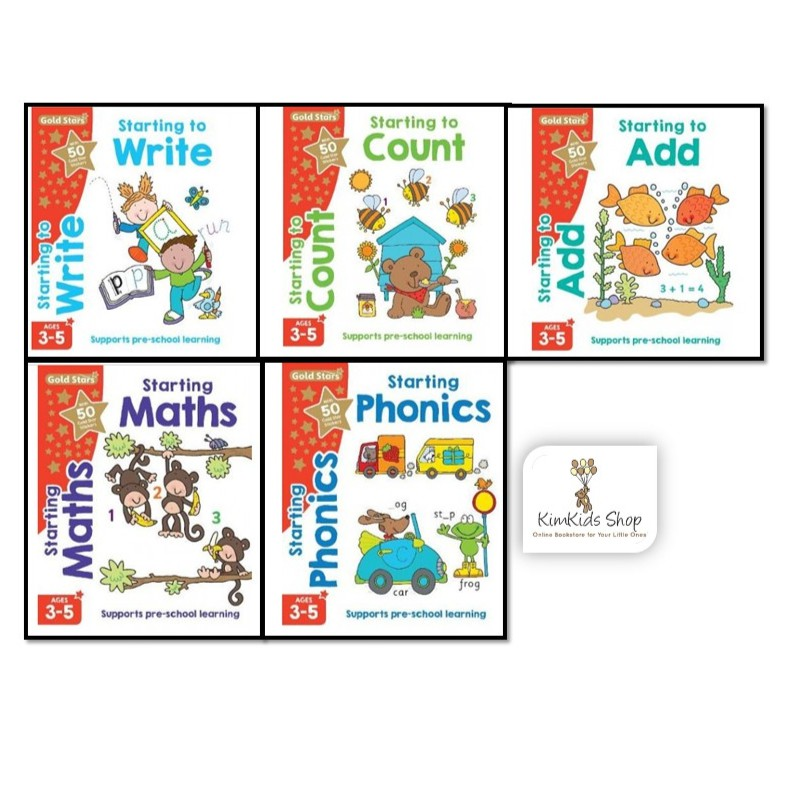 Gold stars activity 5 books set (3-5 years old)