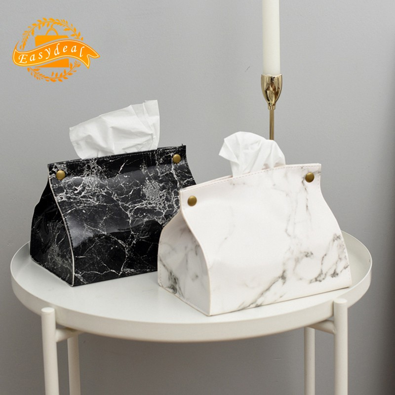 ✨Marble Pattern Tissue Box Pu Leather Home Car Napkin Paper Contai