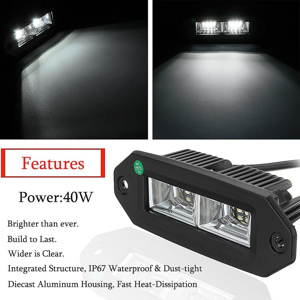 40W Off-Road Flush Mount LED Work Light Pods Flood 4x4 Pickup SUV ATV Boats eep