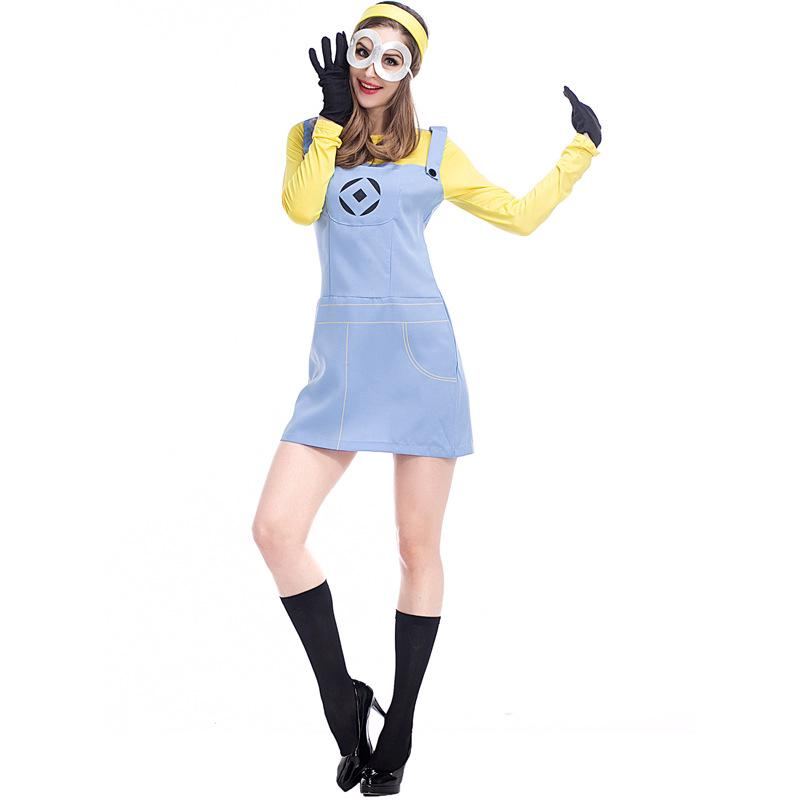 Minion Halloween Costumes For Girls.Adult Wemon Despicable Me Minions Cosplay Dress Girls Halloween Costume