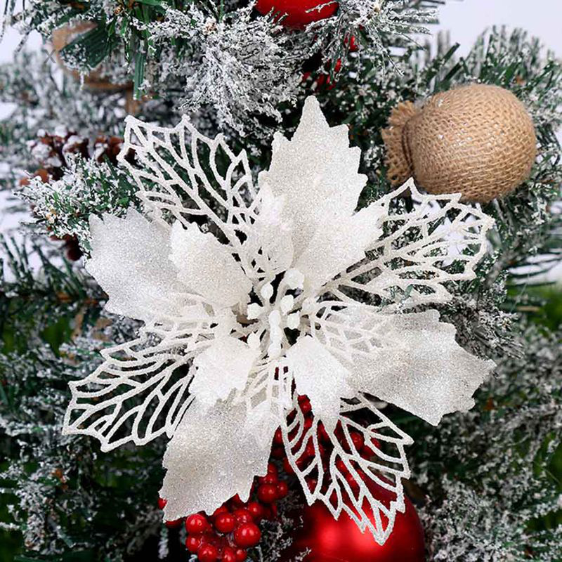 Christmas Large 13cm Poinsettia Glitter Flower Tree Hanging Party Xmas Decor Shopee Singapore