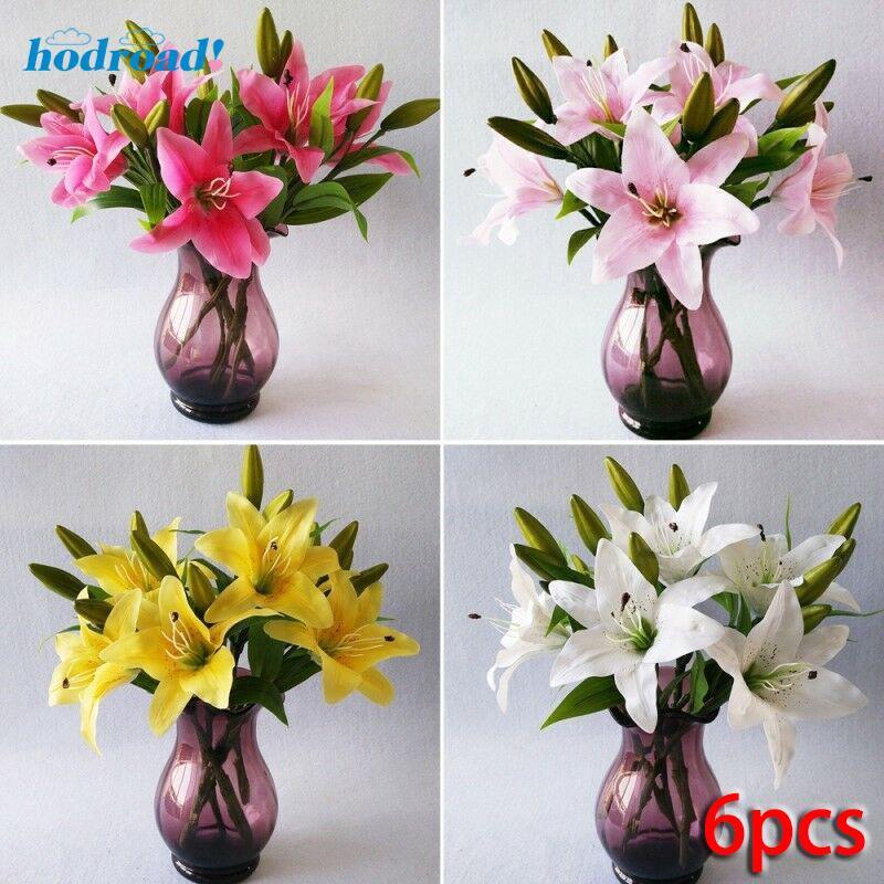 Lily Flower Bouquet Silk Flower Bridal Fake Diy 6pcs Artificial Home Plastic Yellow 37cm White Wedding Fashion Shopee Singapore