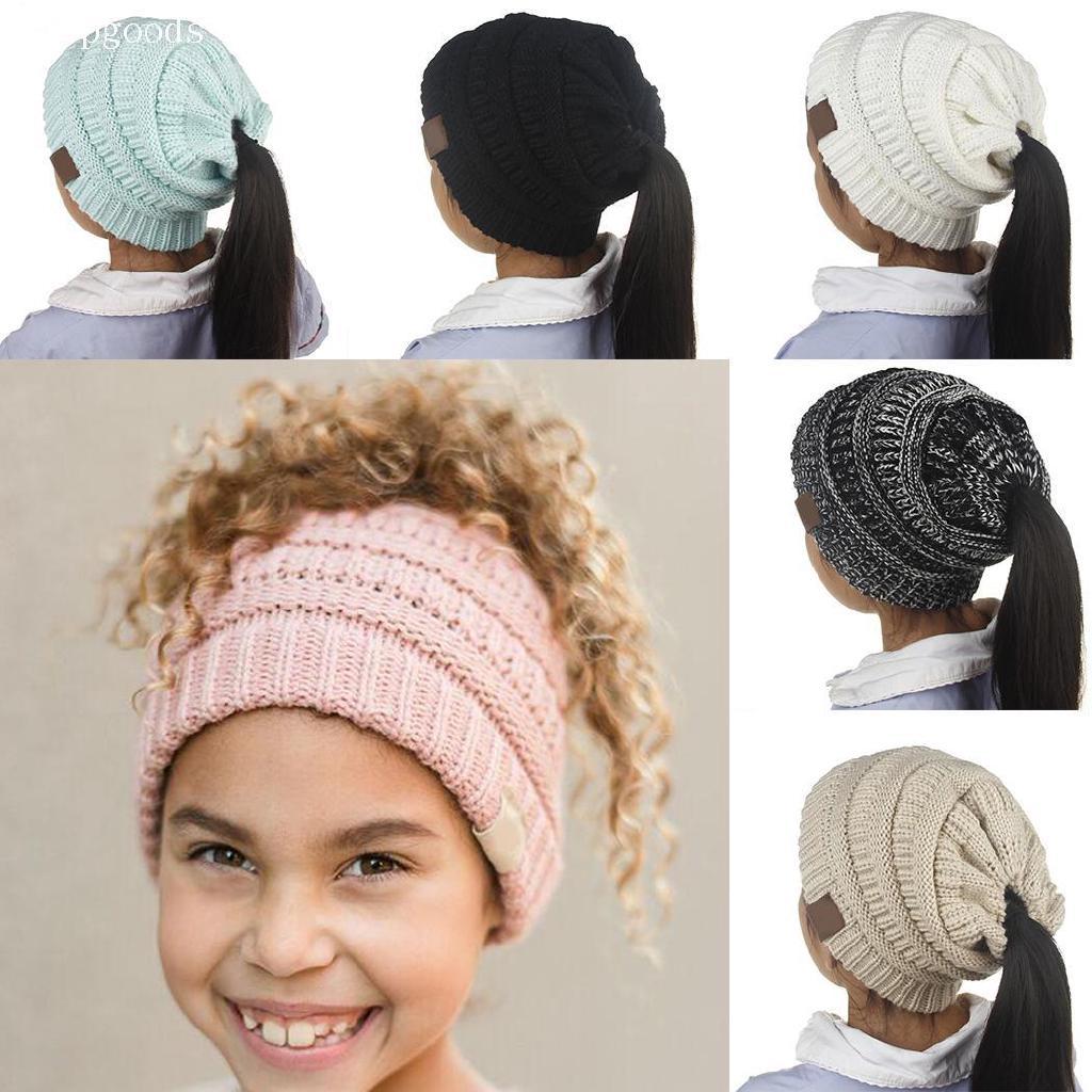 c51b9d94c51 Winter Children Outdoor Ponytail Hair Knitted Cap Warm Cute Wool Beanie Hat  VKHM