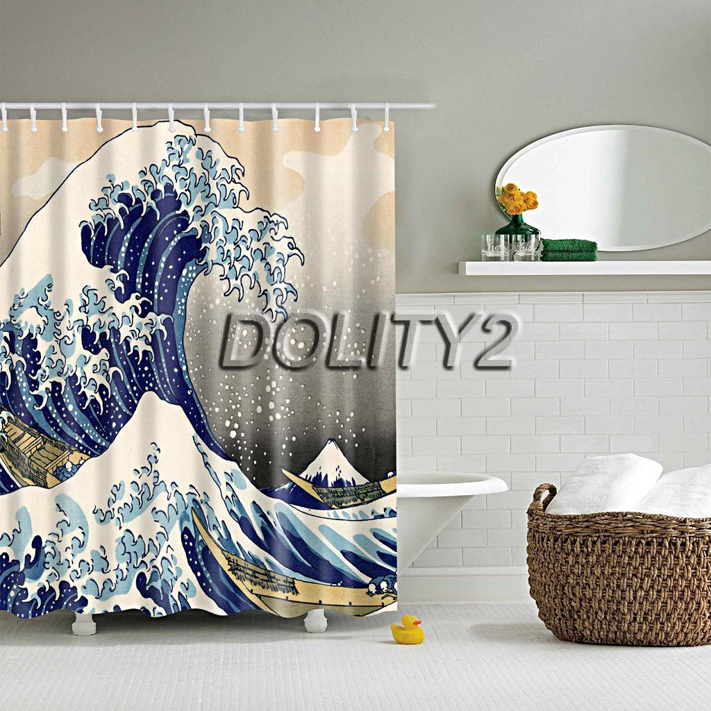 Batoom Shower Divider Scarf Waterproof Fabric Curtain W 12 Hooks Sea Wave